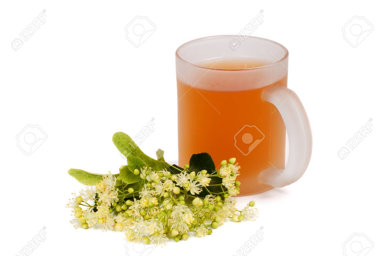 Cup of linden tea and linden blossom Stock Photo - 3185763