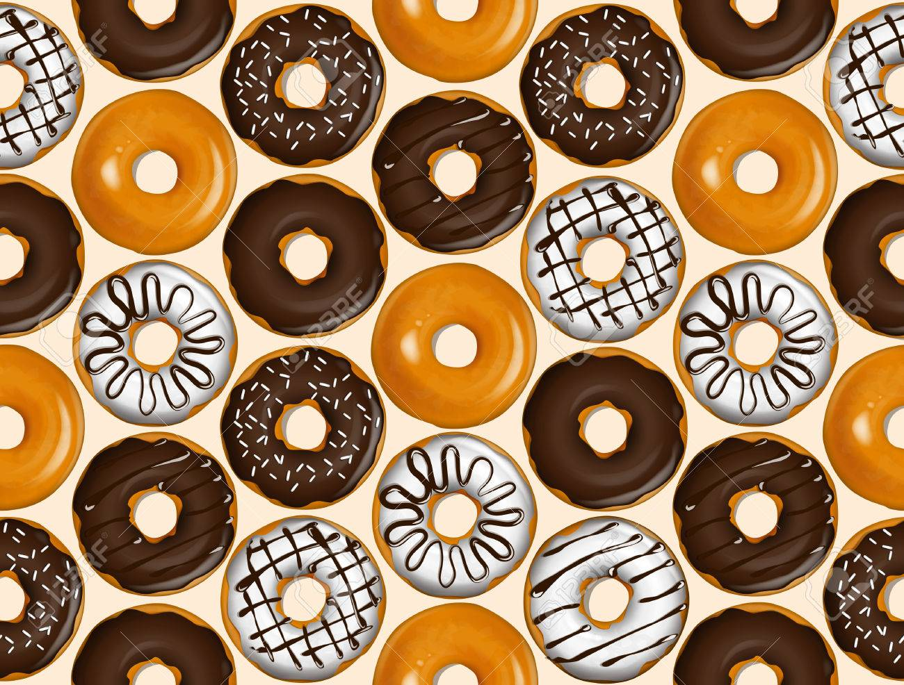 Seamless pattern of donuts. Donut pattern vector. - 45534872