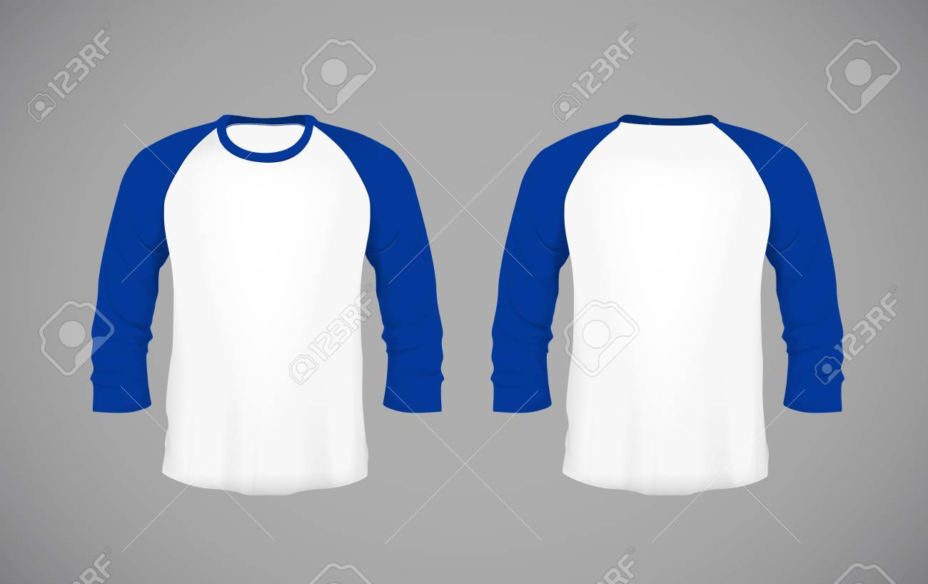 low priced 6e3ab fb28c Men's slim-fitting long sleeve baseball shirt. Blue Mock-up design..