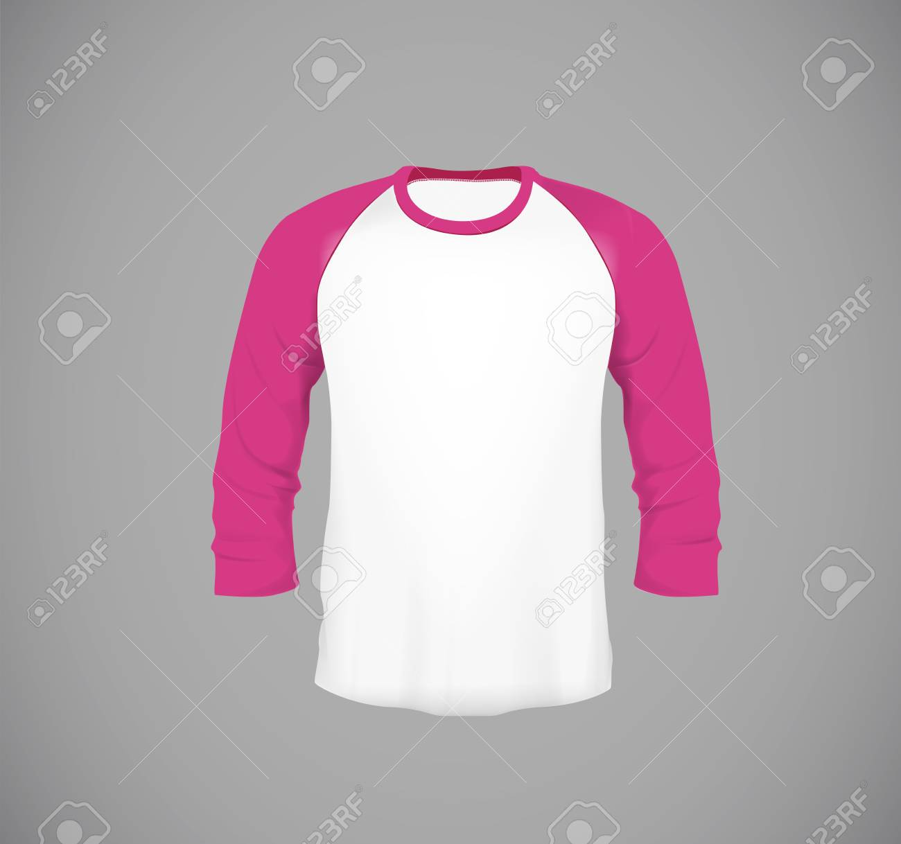 d7668d2f Men's slim-fitting long sleeve baseball shirt. Pink Mock-up design template  for