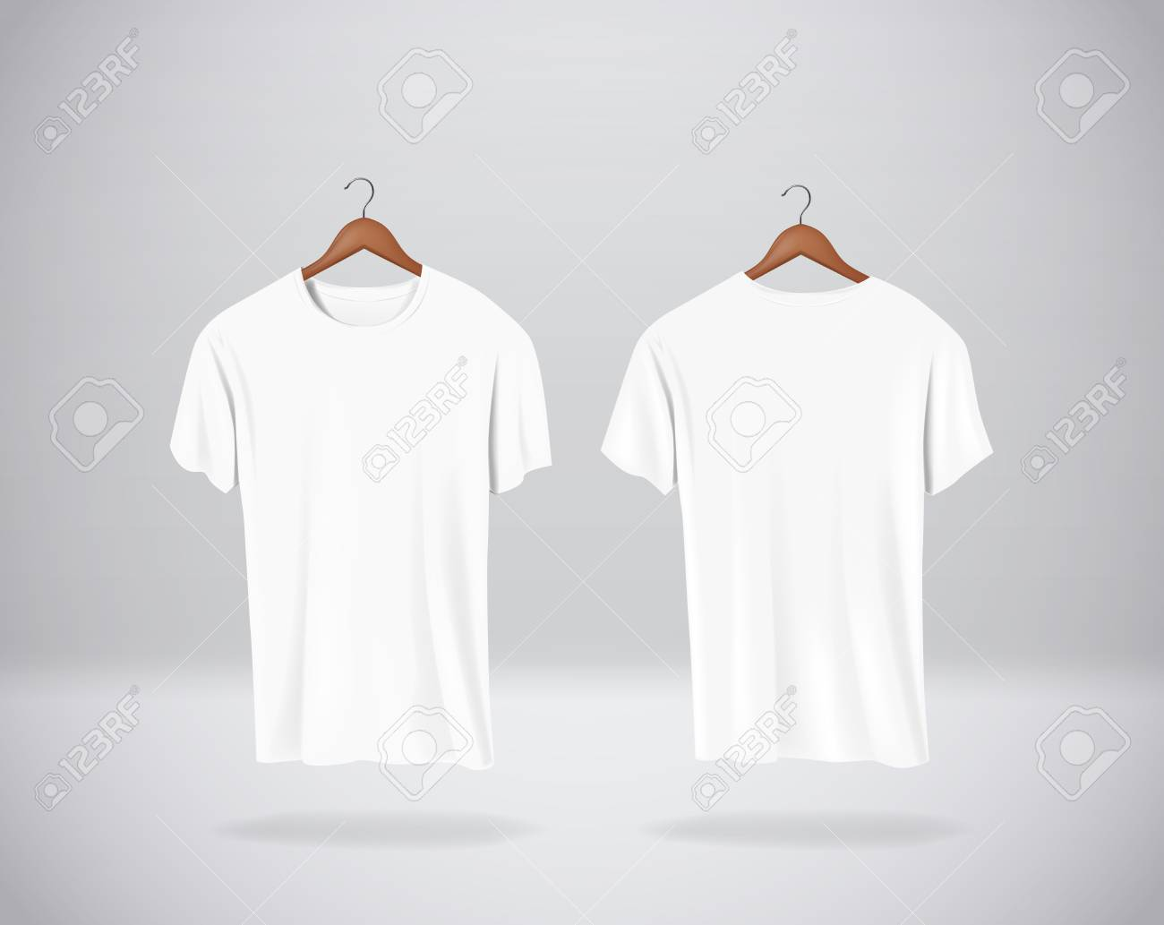 White T-Shirts Mock-up clothes hanging isolated on wall, blank front and rear side view. - 125298549