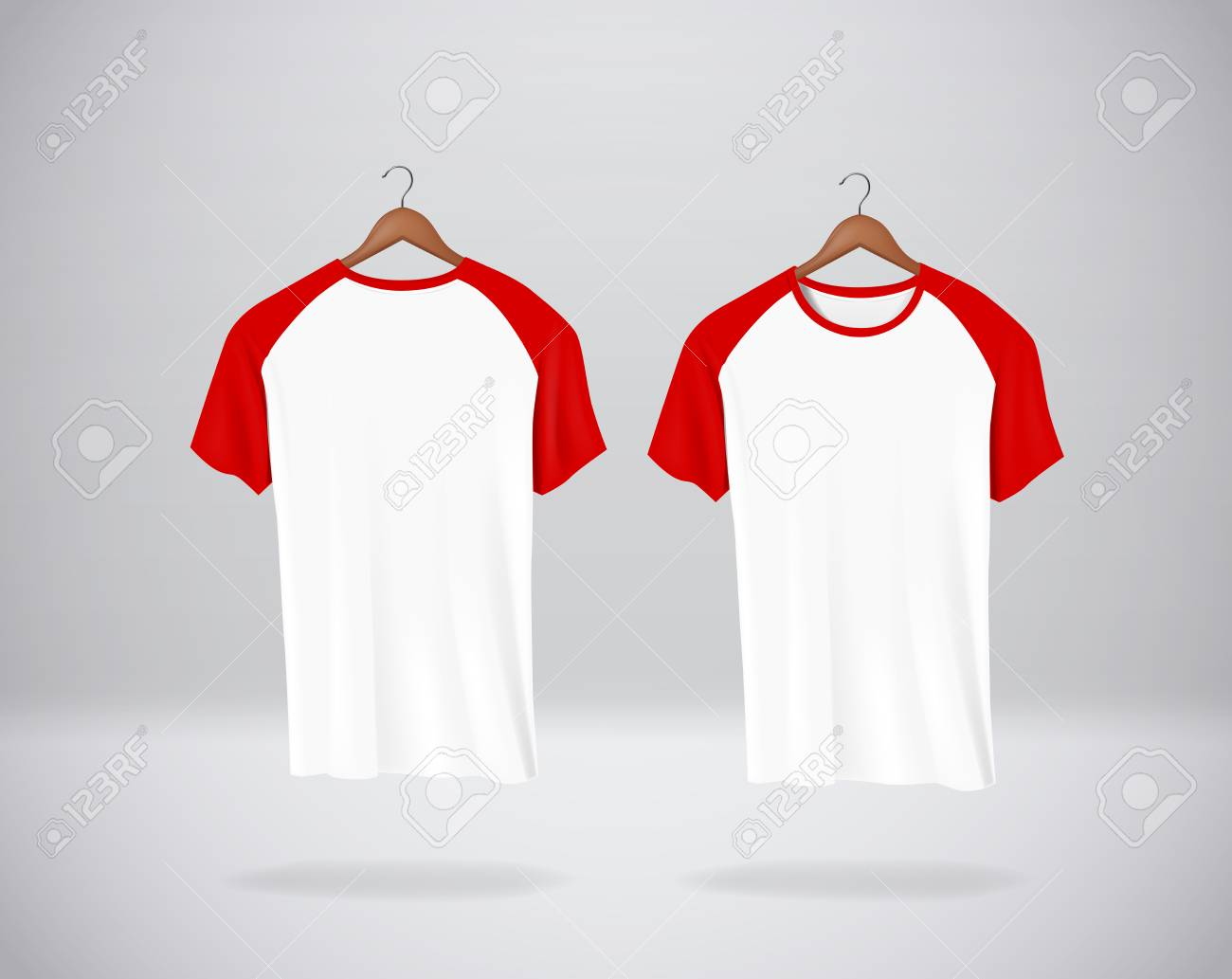 Red Baseball T-Shirts Mock-up clothes hanging isolated on wall, blank front and rear side view. - 125298554