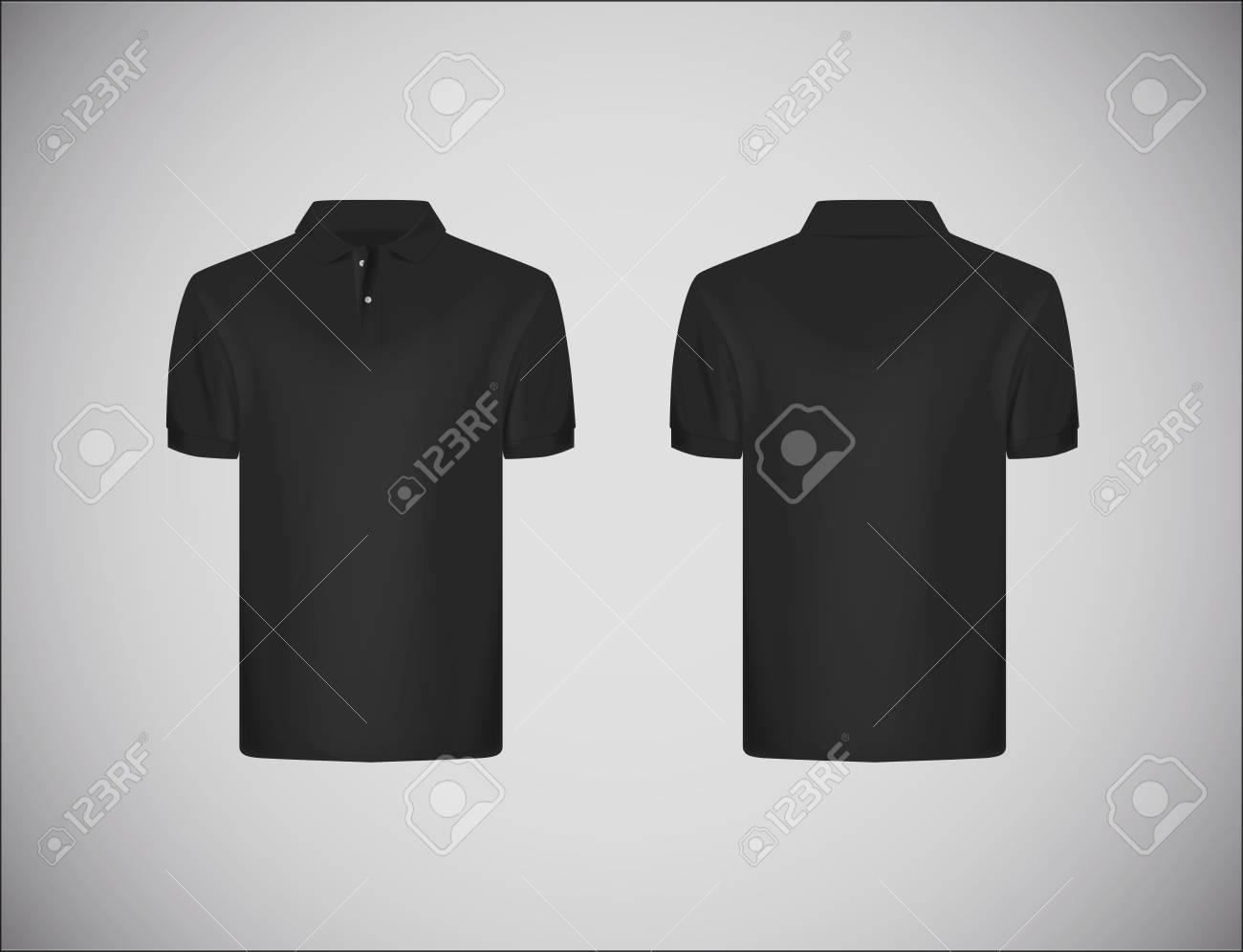Men's slim-fitting short sleeve polo shirt. Black polo shirt mock-up design template for branding. - 125276218