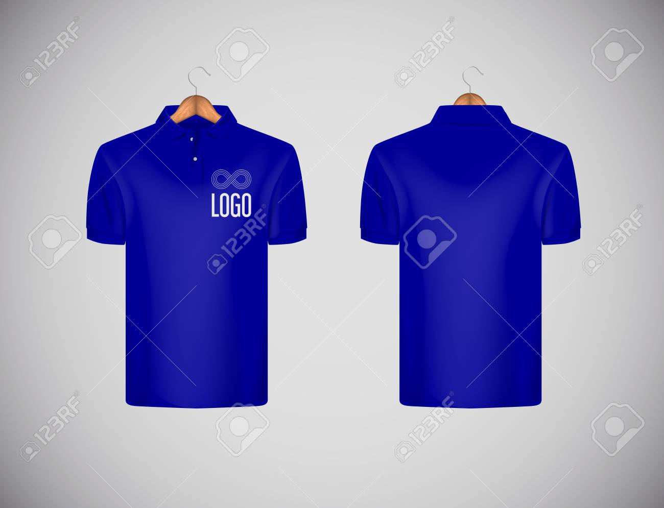 Men's slim-fitting short sleeve polo shirt with logo for advertising. Blue polo shirt with wooden hanger isolated mock-up design template for branding. - 117663495