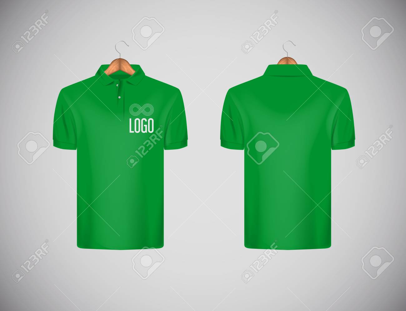 Men's slim-fitting short sleeve polo shirt with logo for advertising. Green polo shirt with wooden hanger isolated mock-up design template for branding. - 117663504