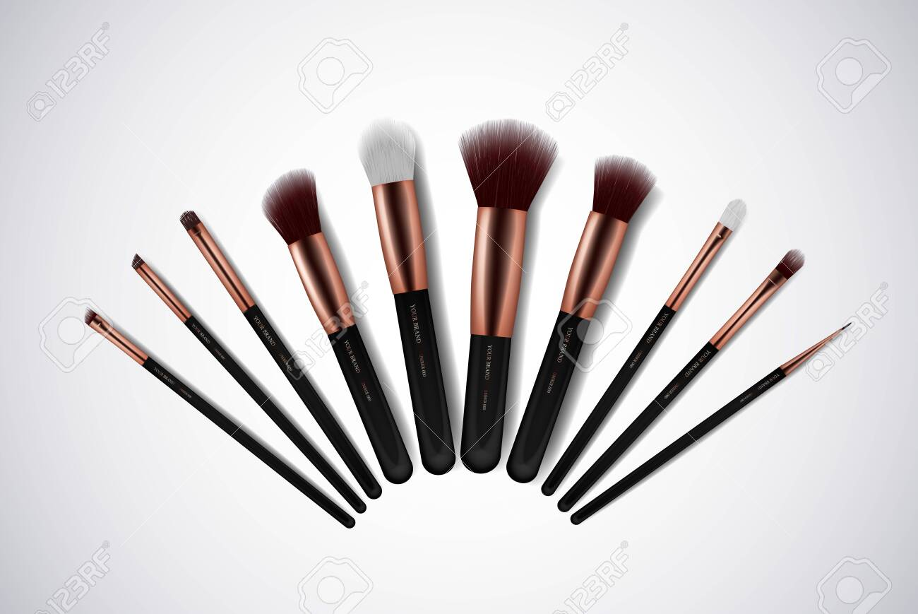 Professional Makeup Brushes kit. For concealer Powder Blush, Eye Shadow or Brow isolated. Brand templates. - 116779538