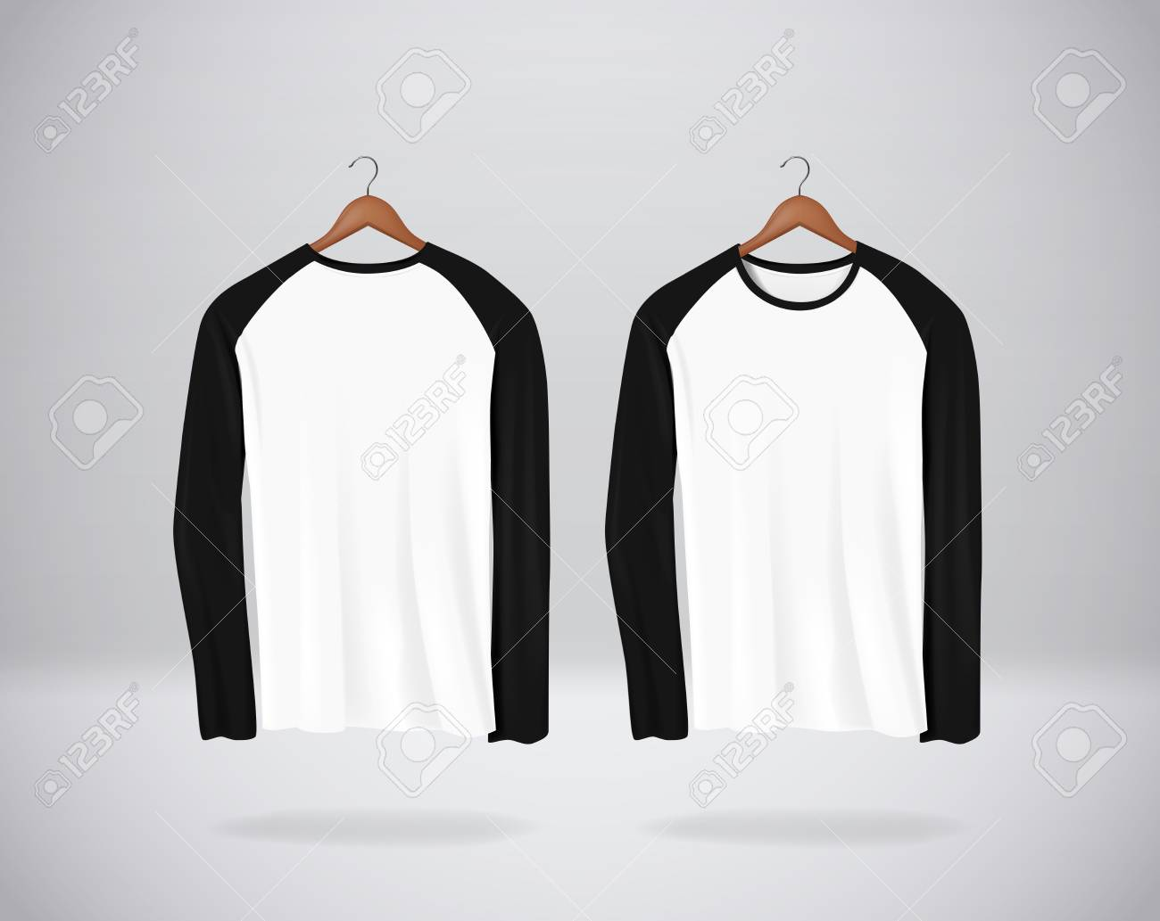 Long sleeve Baseball T-Shirts Mock-up clothes hanging isolated on wall, blank front and rear side view. - 117663670