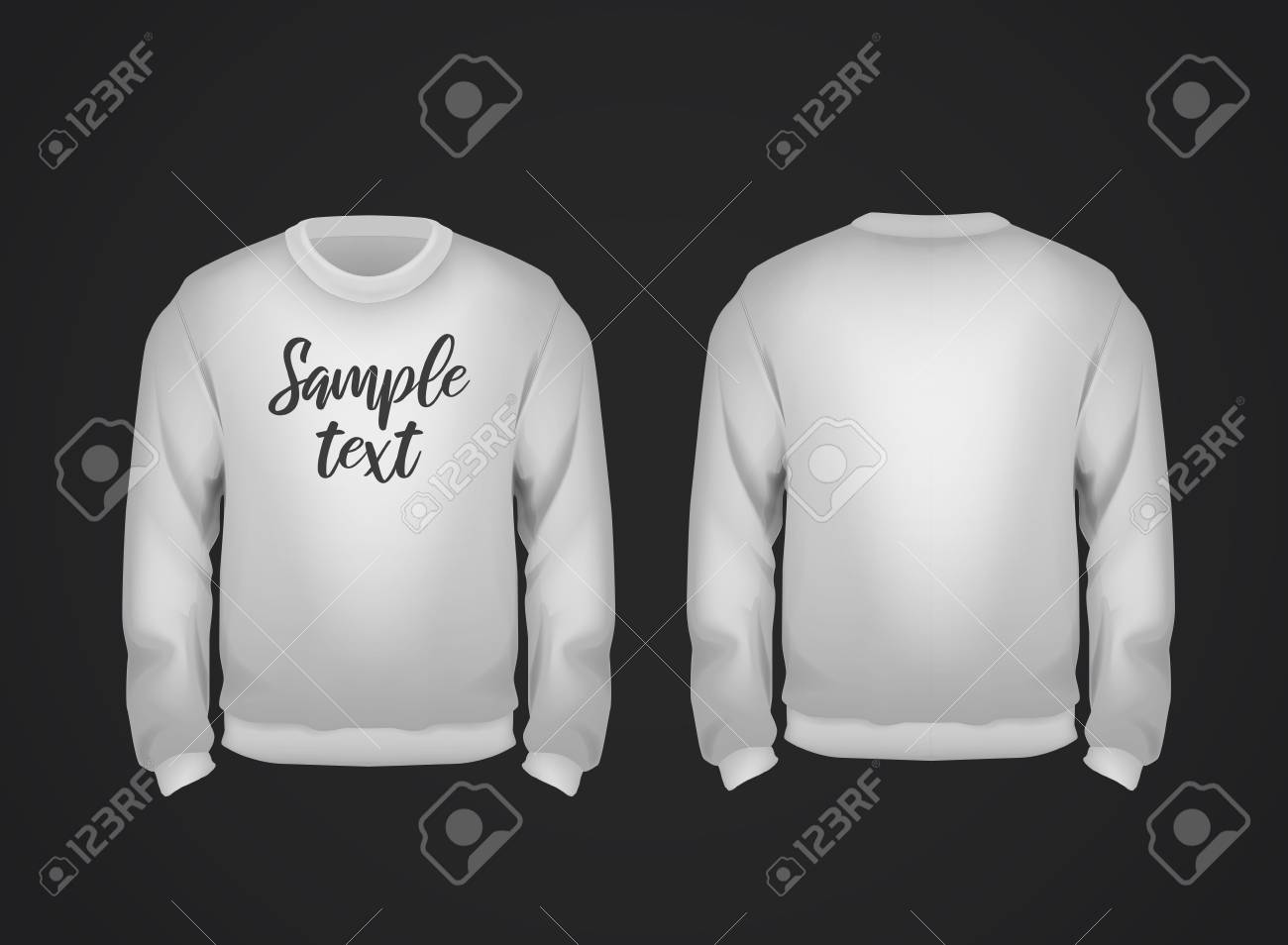 Gray men's sweatshirt template with sample text front and back view. Hoodie for branding or advertising. - 125276389