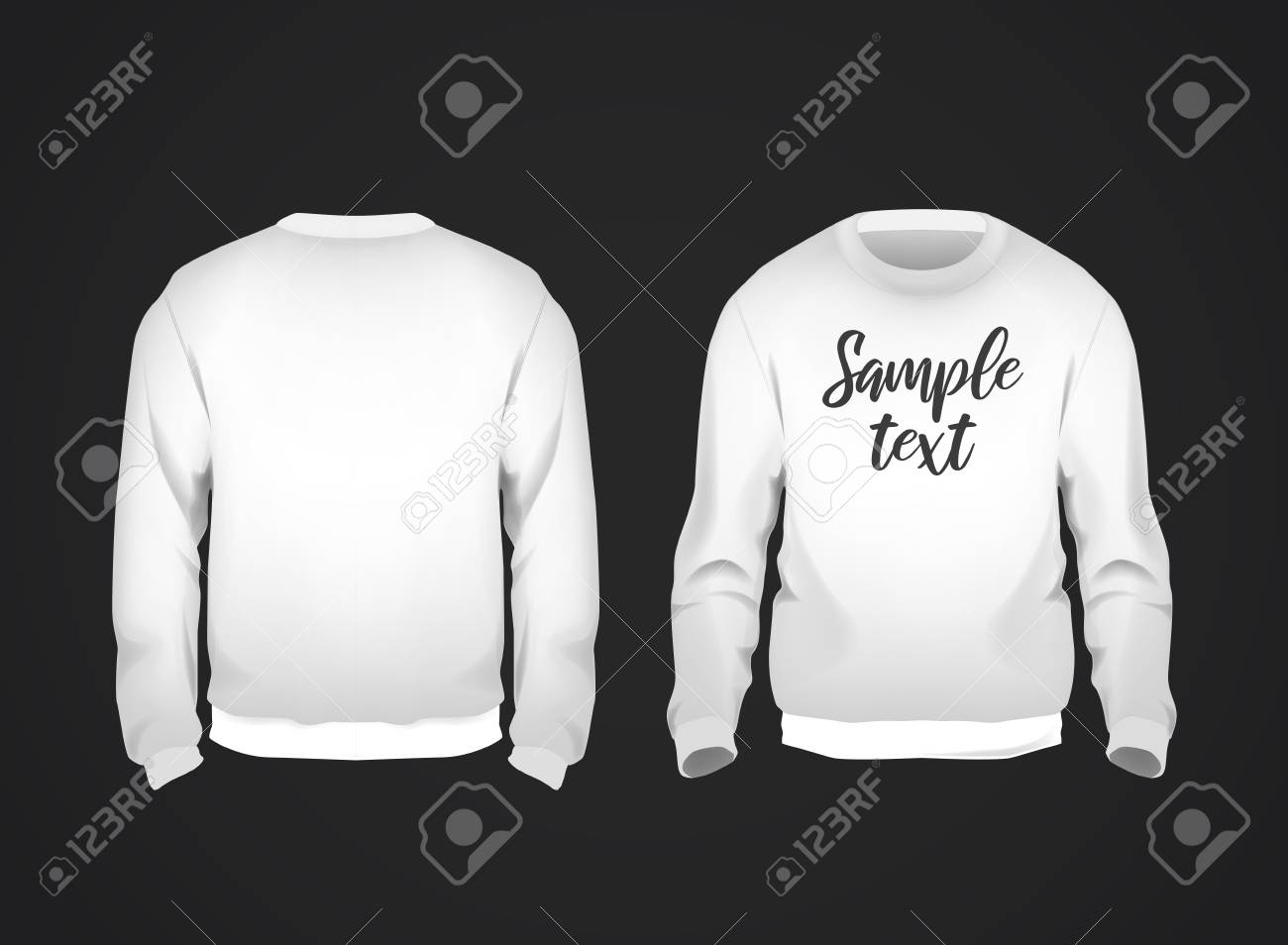 White men's sweatshirt template with sample text front and back view. Hoodie for branding or advertising. - 125276391