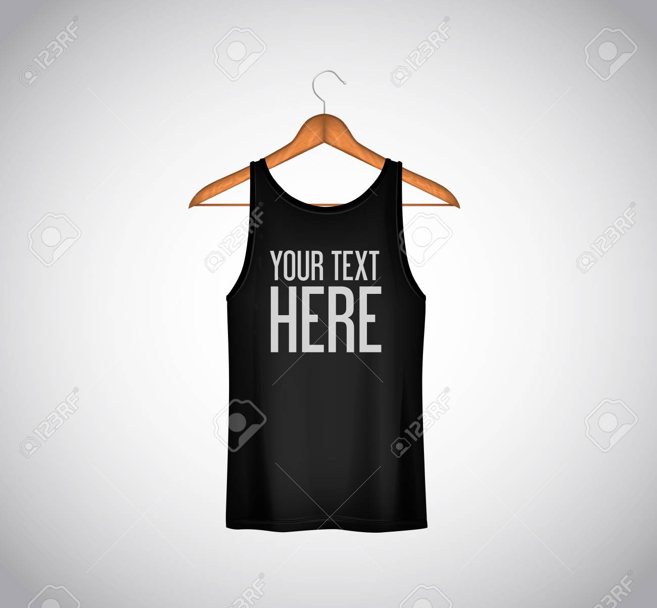 Men black tank top isolated. Realistic mockup whit brand text for advertising. T-shirt template on background. - 125264522