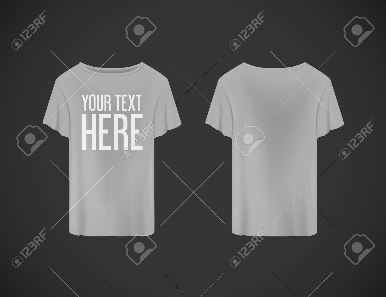 Men gray T-shirt. Realistic mockup whit brand text for advertising. Short sleeve T-shirt template on background. - 125264709