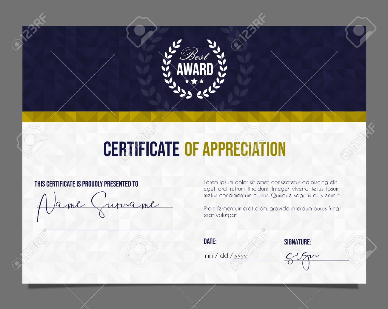 Professional certificate. Template diploma with luxury and modern pattern background. Achievement certificate. - 131655427