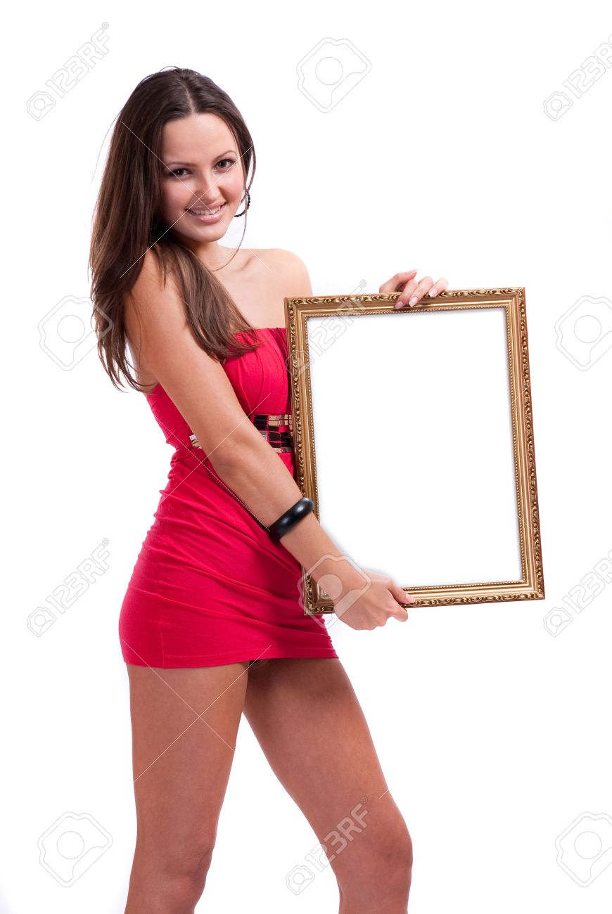 High Slip Of A Girl In A Short Dress With A White Scope In Hands ...