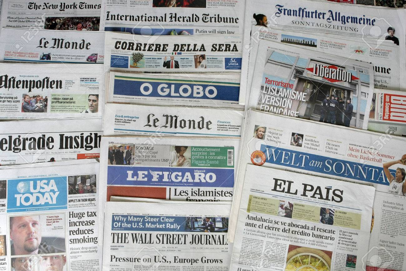 Major International Newspapers Headers Detail Stock Photo, Picture ...