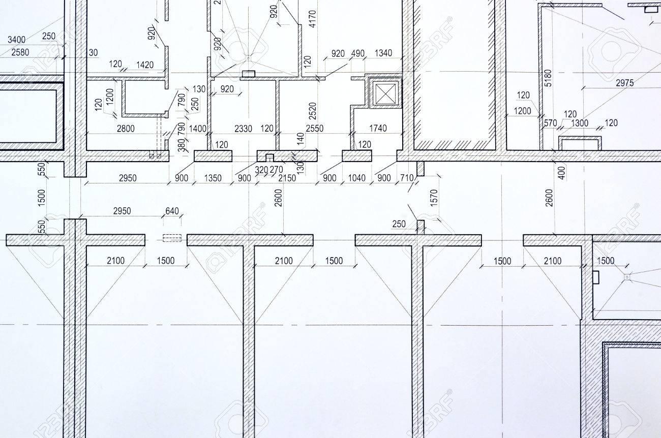 grundriss auf der zeichnung entworfene gebaude standard bild 50418821