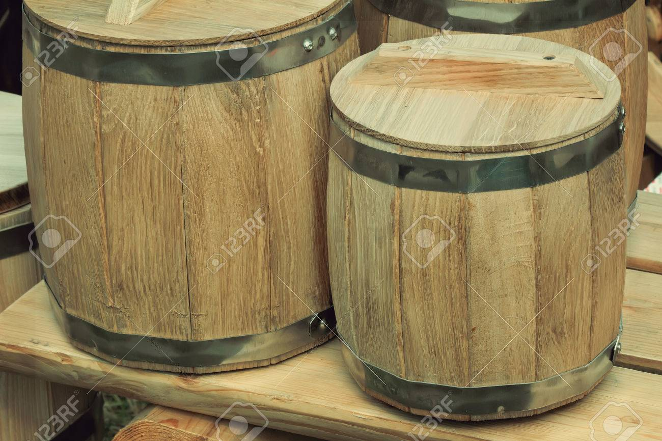 storage oak wine barrels. Stock Photo - Two Large Wooden Barrels Of Natural Oak With Metal Hoops For The Storage Wine. Wine