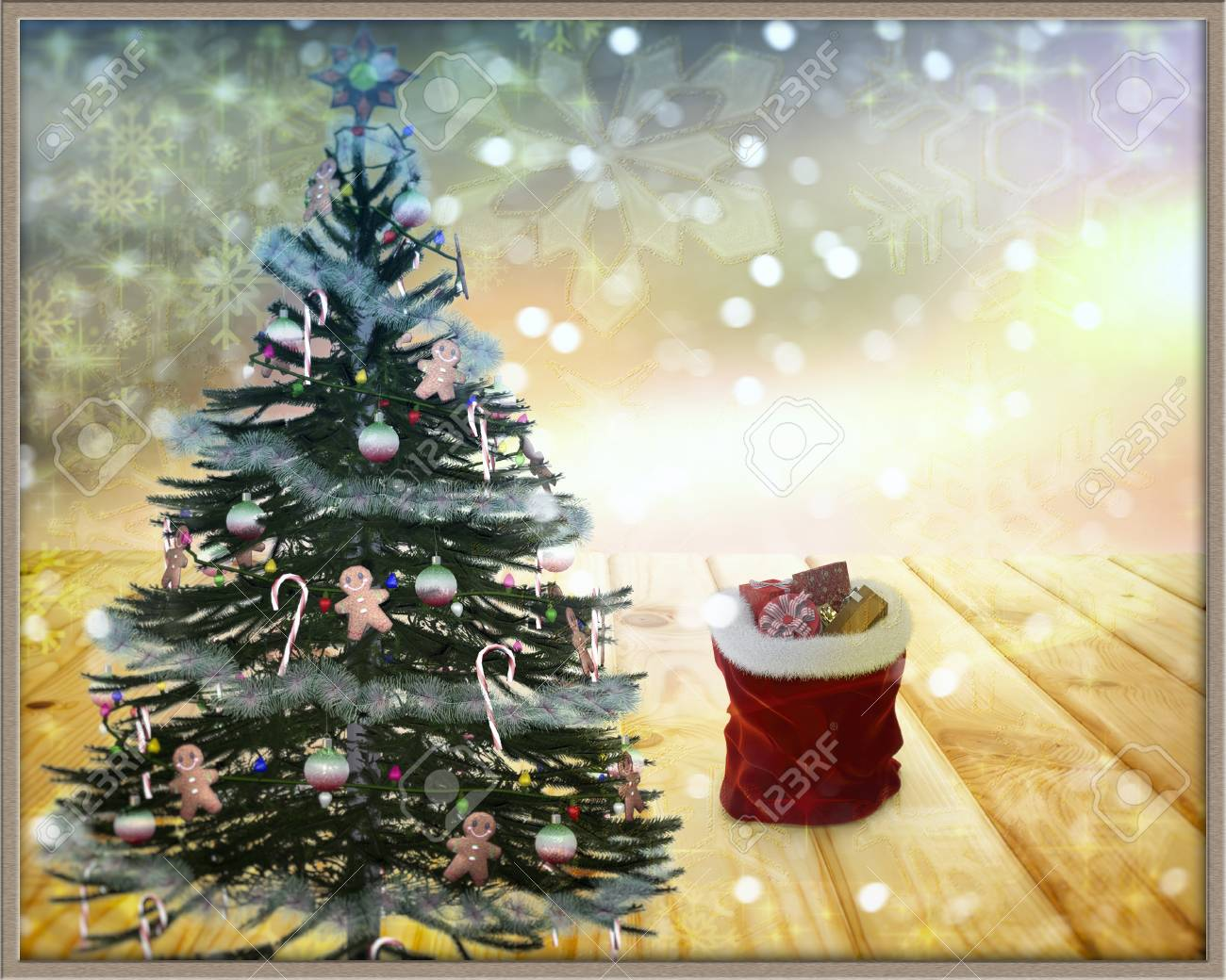 Beautiful Christmas Tree And Christmas Gifts On Background Of