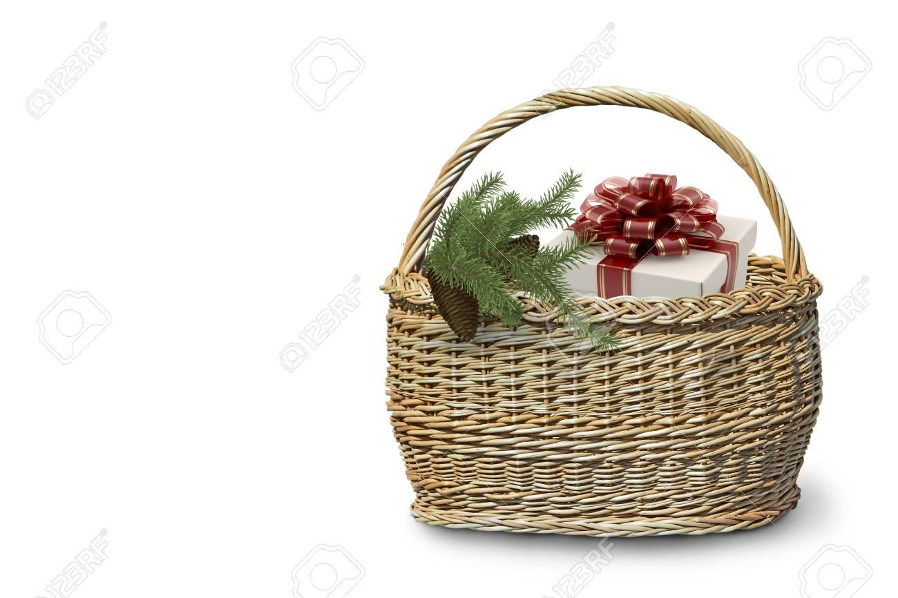 Immagini Stock Regali Di Natale In Un Grande Cesto Di Vimini E