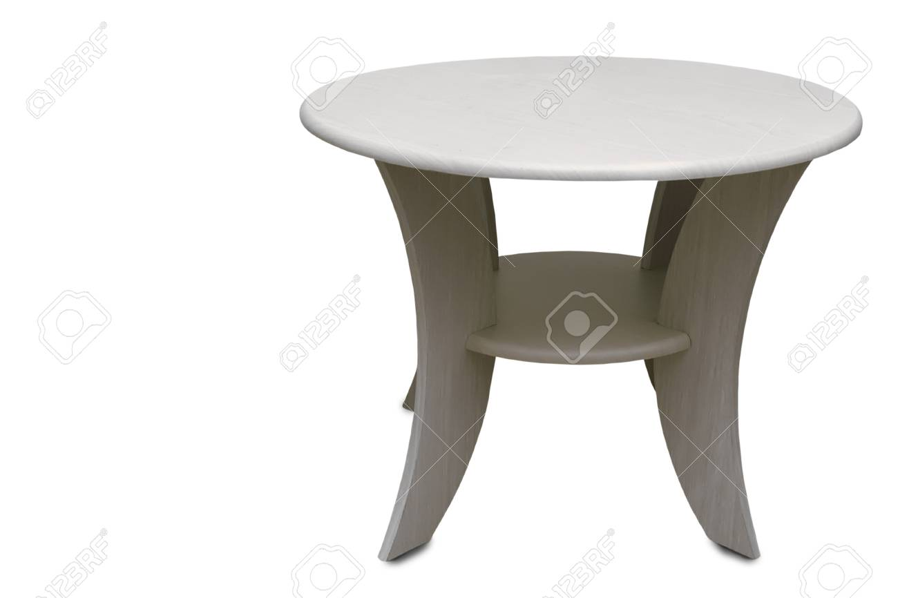 Small Low Round Coffee Table Presented On A White Background Stock
