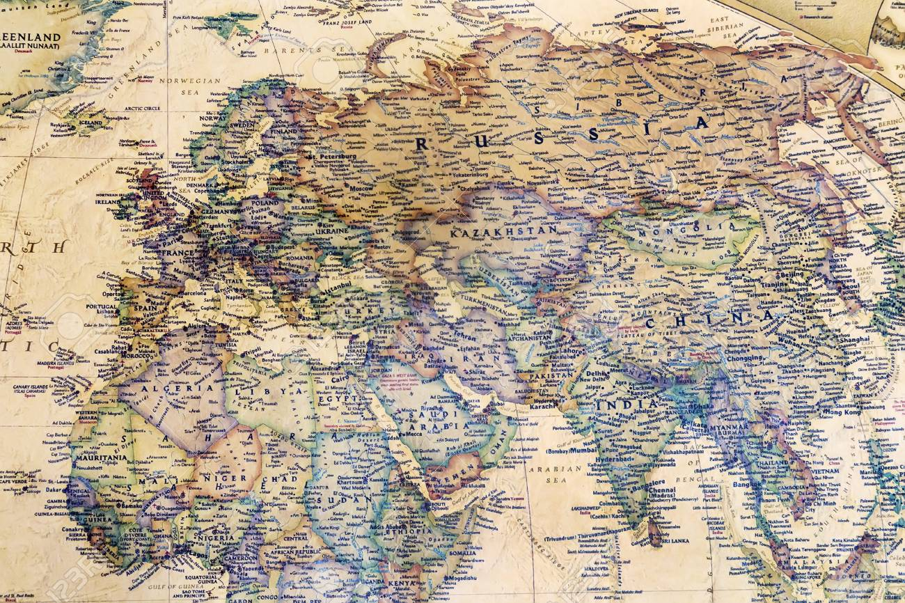 Image of: Part Of A Detailed World Map Which Depicts The Continents Seas Stock Photo Picture And Royalty Free Image Image 100245205