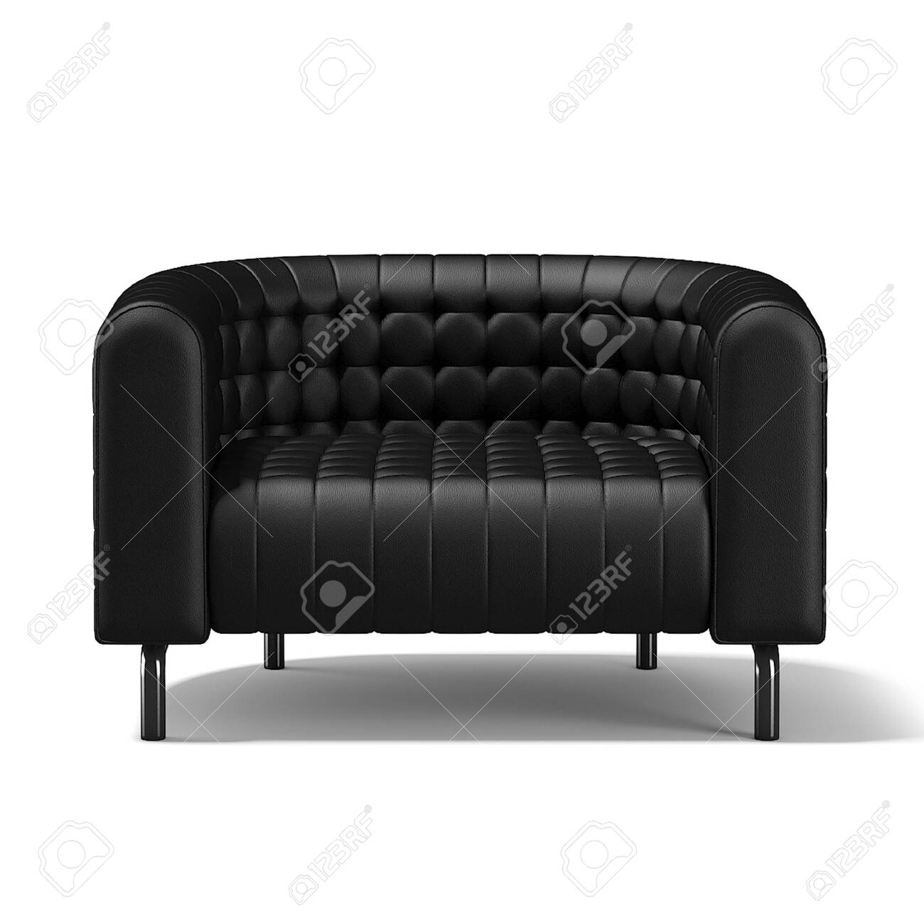- Modern Small Black Leather Sofa On White Background. 3D Rendering