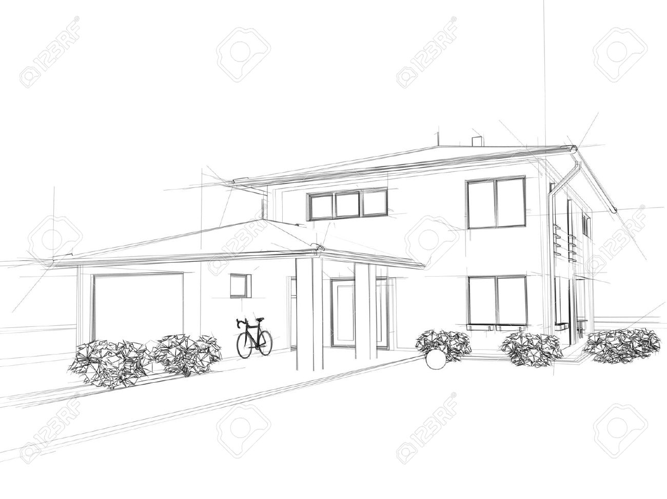 Illustation Of A House. Black Ink Drawing. Stock Photo   12992395