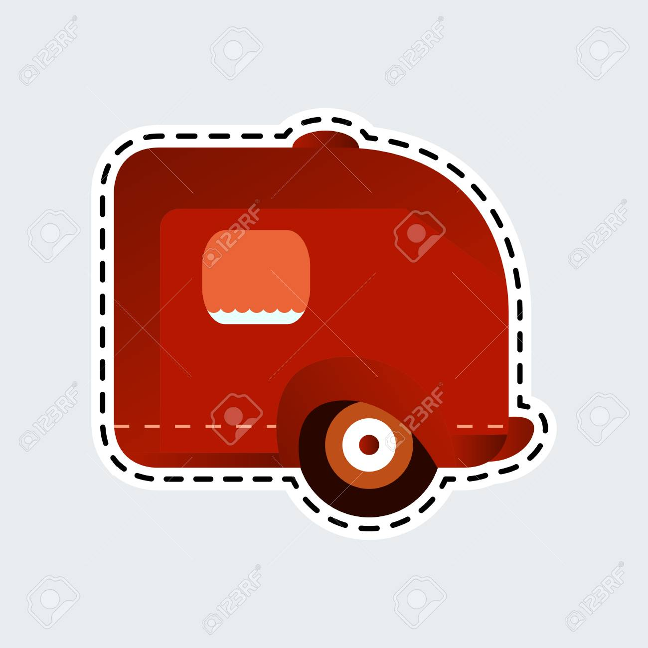 Vintage Camping Trailer In Patch Style Clip Art For Sticker