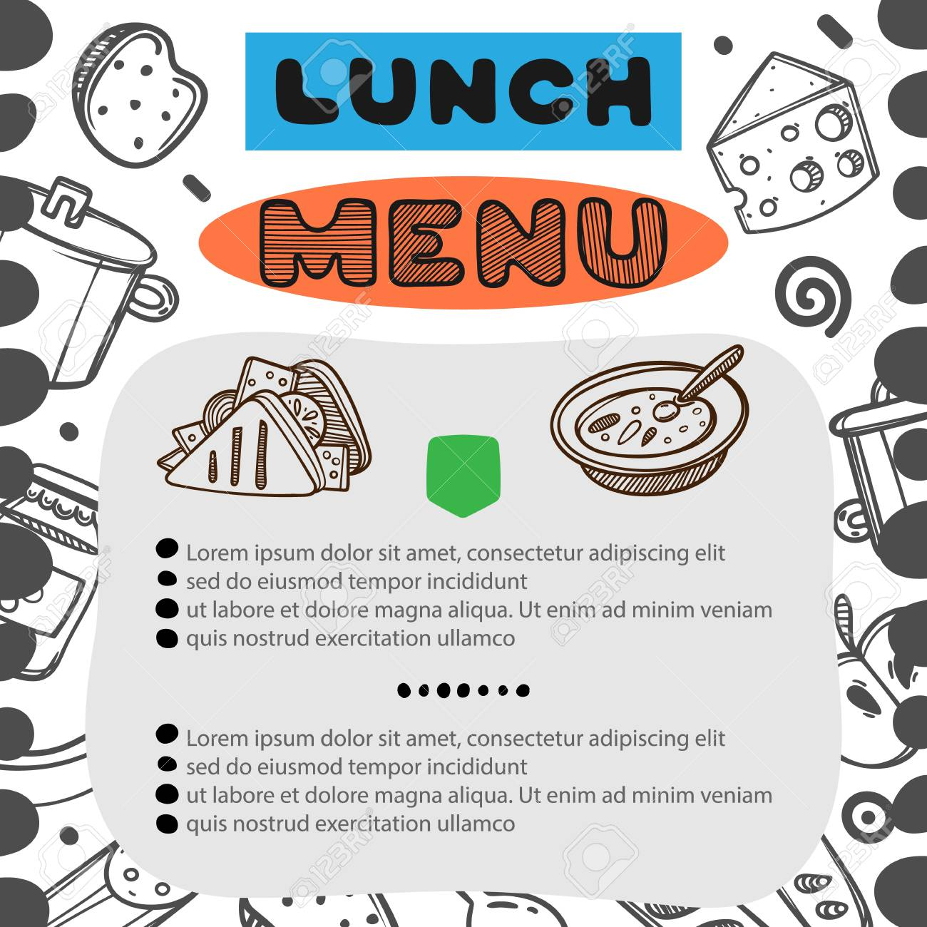 Lunch Menu Template | Hand Drawn Menu For Cafe With Lunch Menu Template Design Food