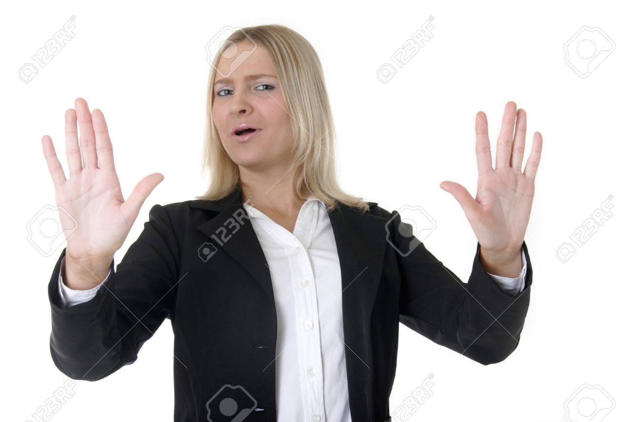 Business woman holding up hands, Stock Photo - 277876