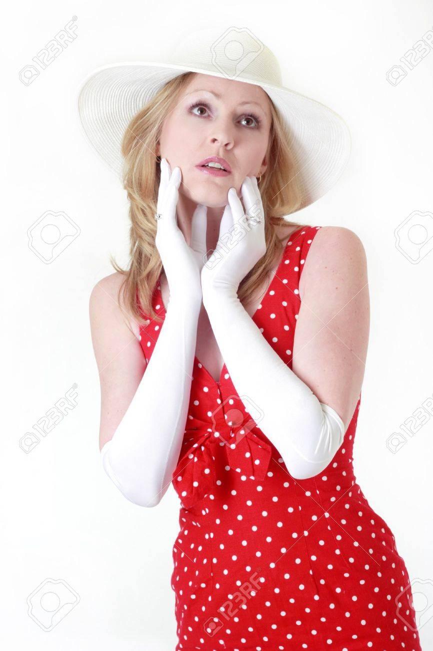Red dress white gloves