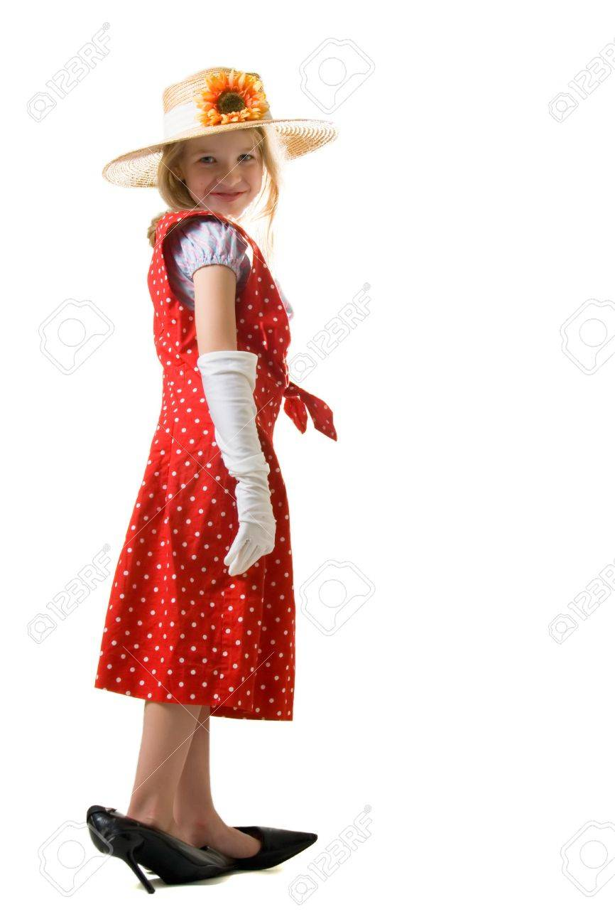 Too Year Cute Gloves Wearing And Eight Girl White Little Old 35ALRj4