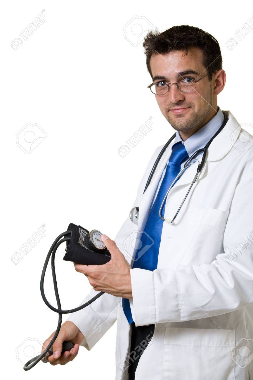 Young Attractive Man Doctor Wearing White Lab Coat And Eyeglasses ...