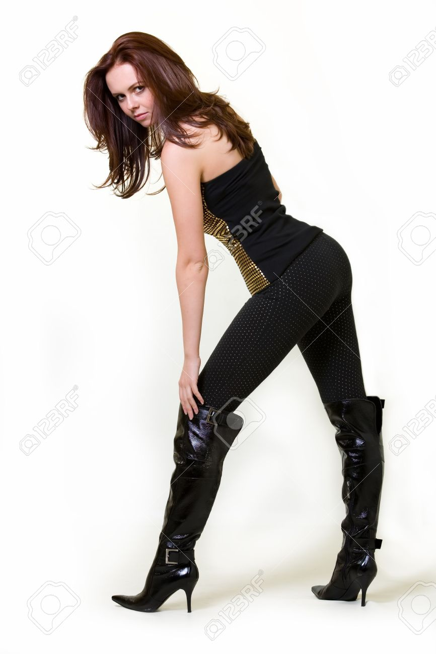 Full Body Of A Beautiful Brown Hair Woman Wearing Tight Black ...