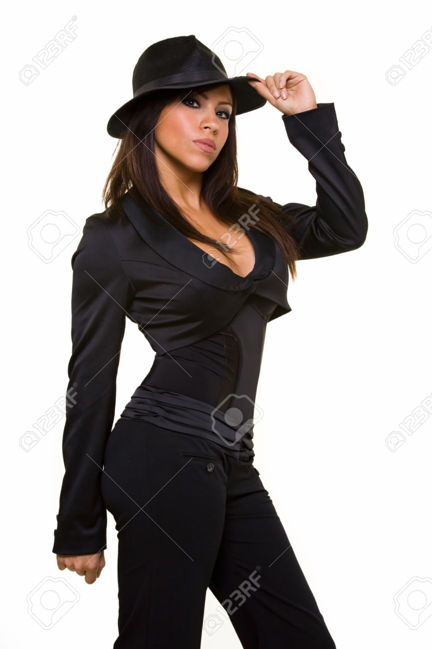 Attractive long hair brunette woman wearing sexy low cut black suit and  black old gangster style 4594d625255