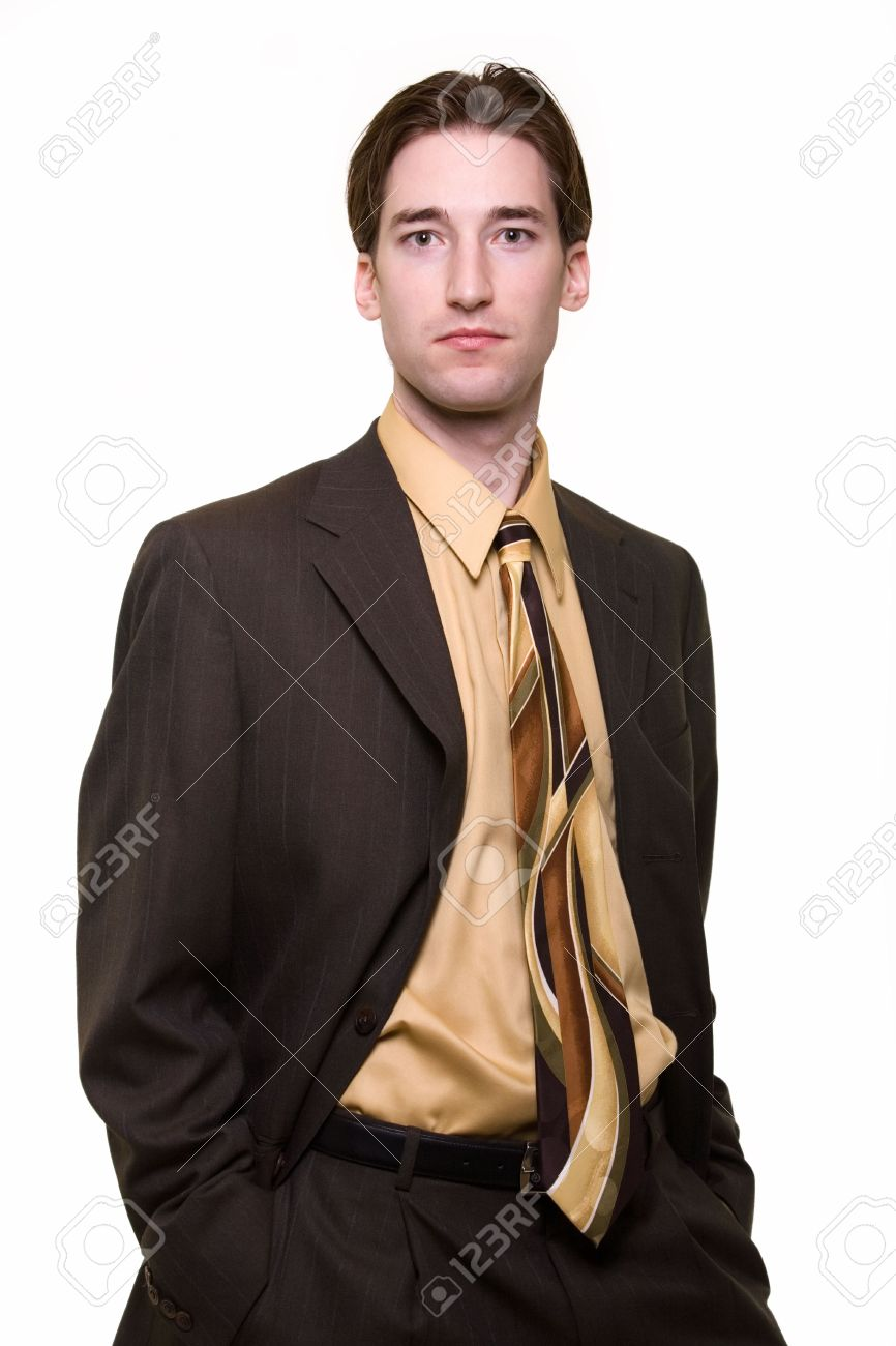 Portrait Of A Confident Handsome Young Brunette Business Man