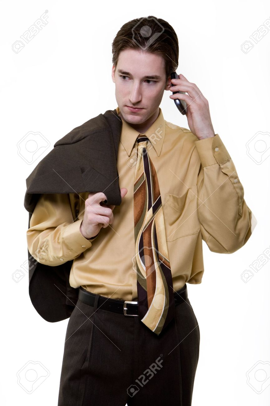 Portrait Of A Handsome Young Brunette Business Man Wearing Dark ...