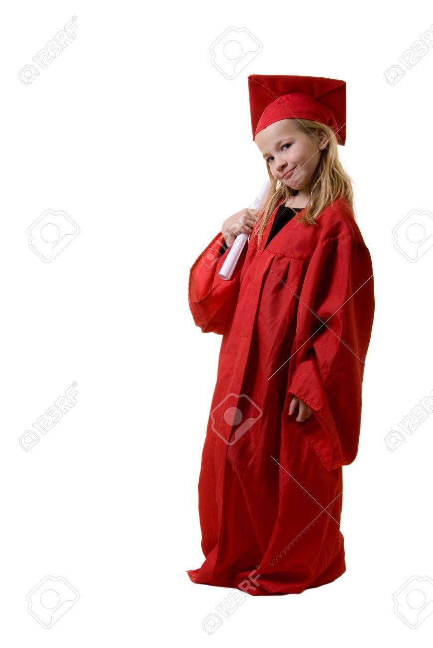 Cute Little Eight Year Old Wearing Red Graduation Cap And Gown ...