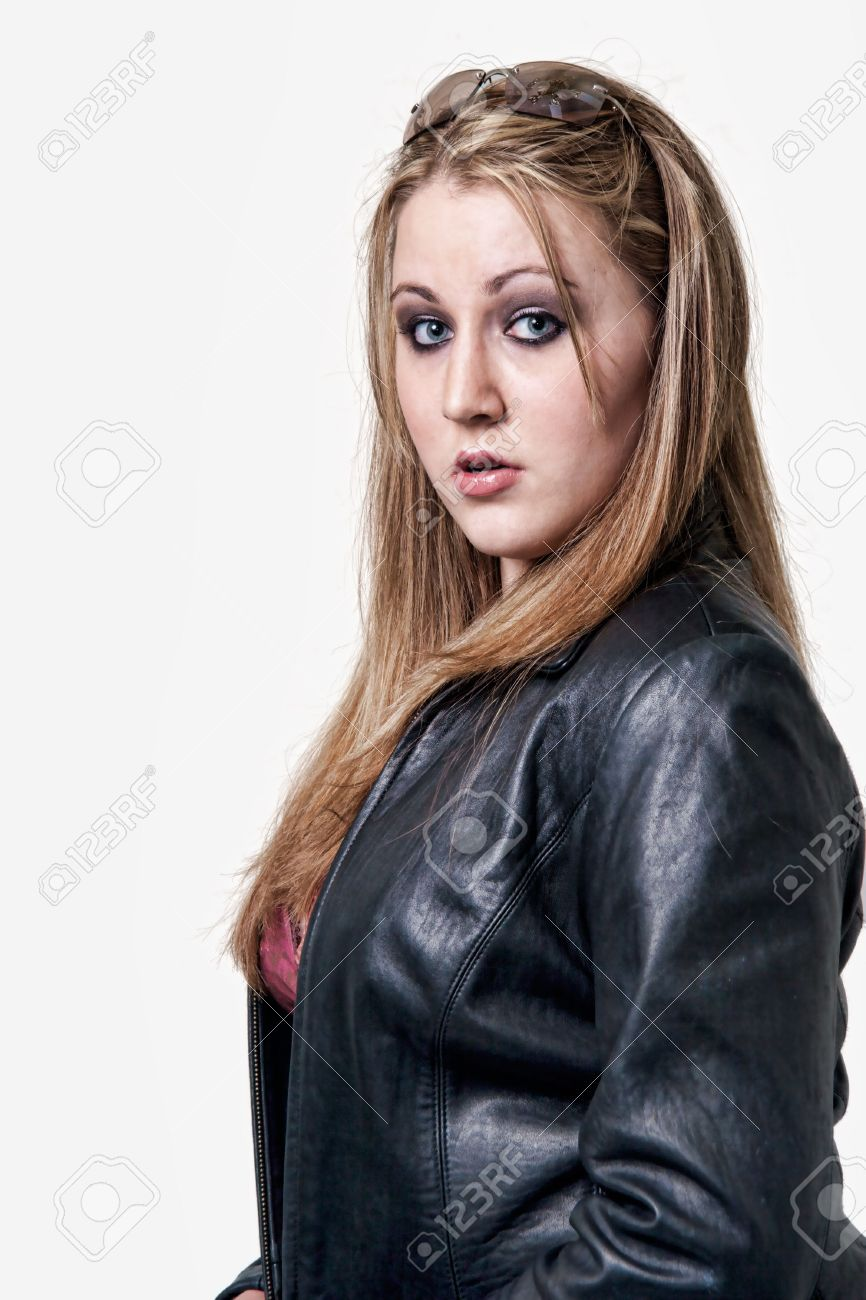 Attractive Blond Woman Wearing Black Leather Jacket And Sunglasses ...
