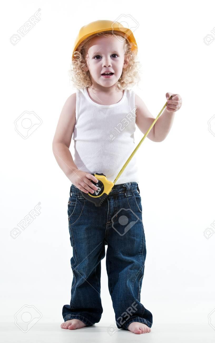 Cute blond jewish toddler boy playing pretend Stock Photo - 18387549
