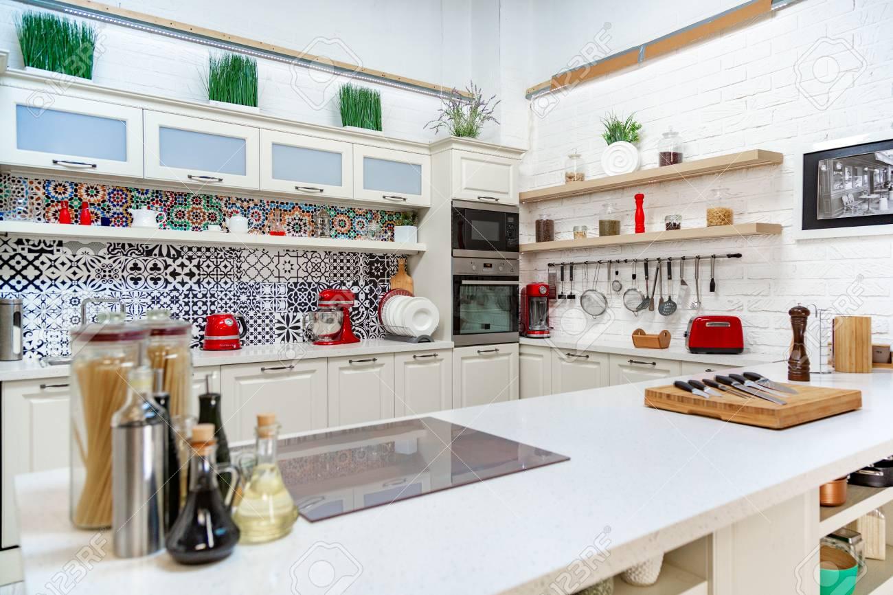 Studio style kitchen, light design, modern style, classic design