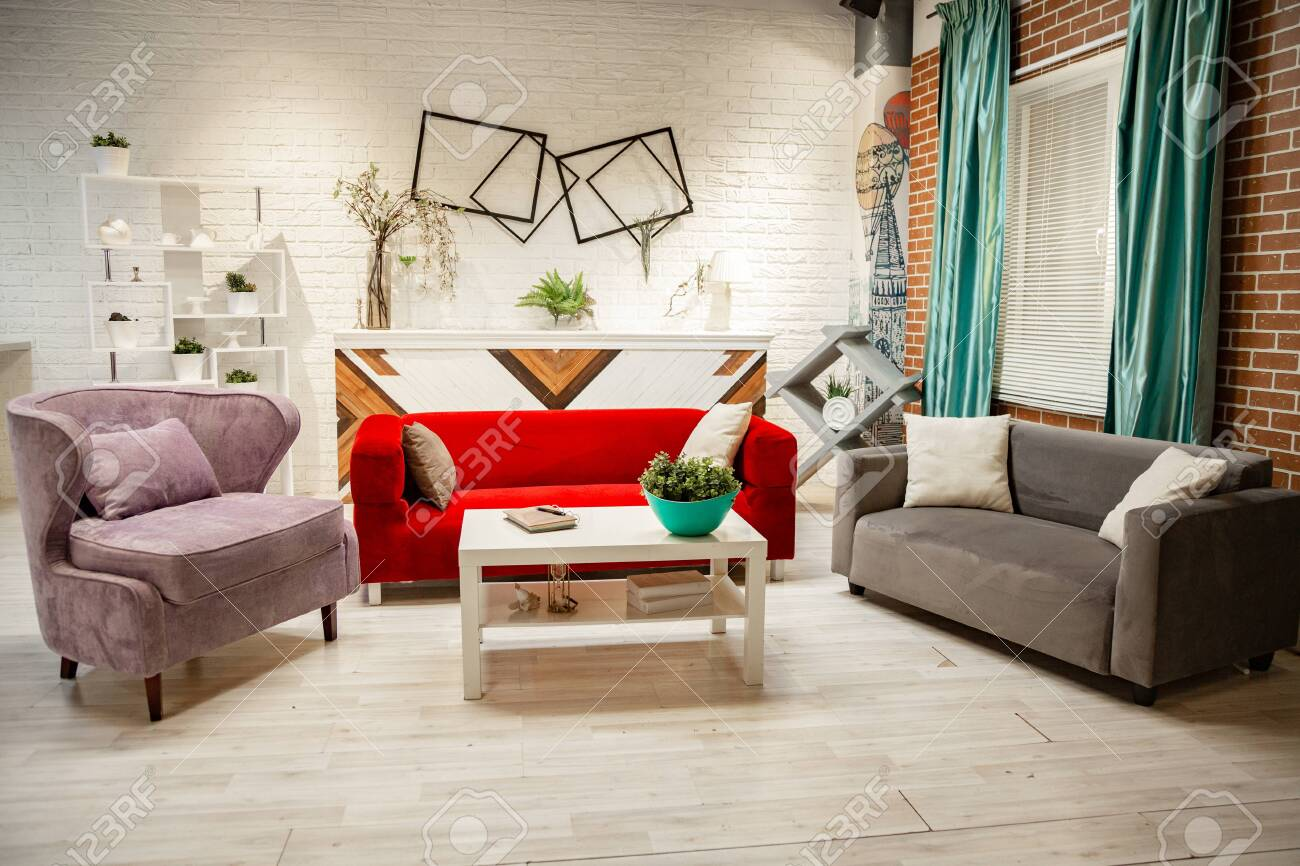 Photo studio in the style of the living room. Classic furniture,..