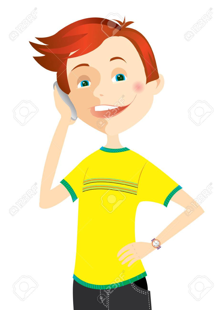 Teen is talking phone Stock Vector - 5003737
