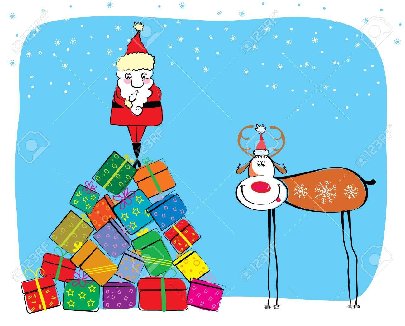 Vector Christmas postcard with Santa and deer. Stock Vector - 6063575