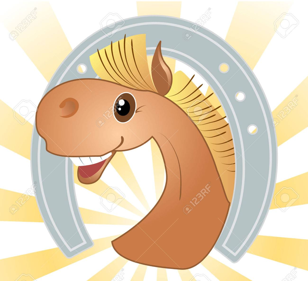 Head Of Horse And Horseshoe Cartoons Royalty Free Cliparts Vectors And Stock Illustration Image 6636702