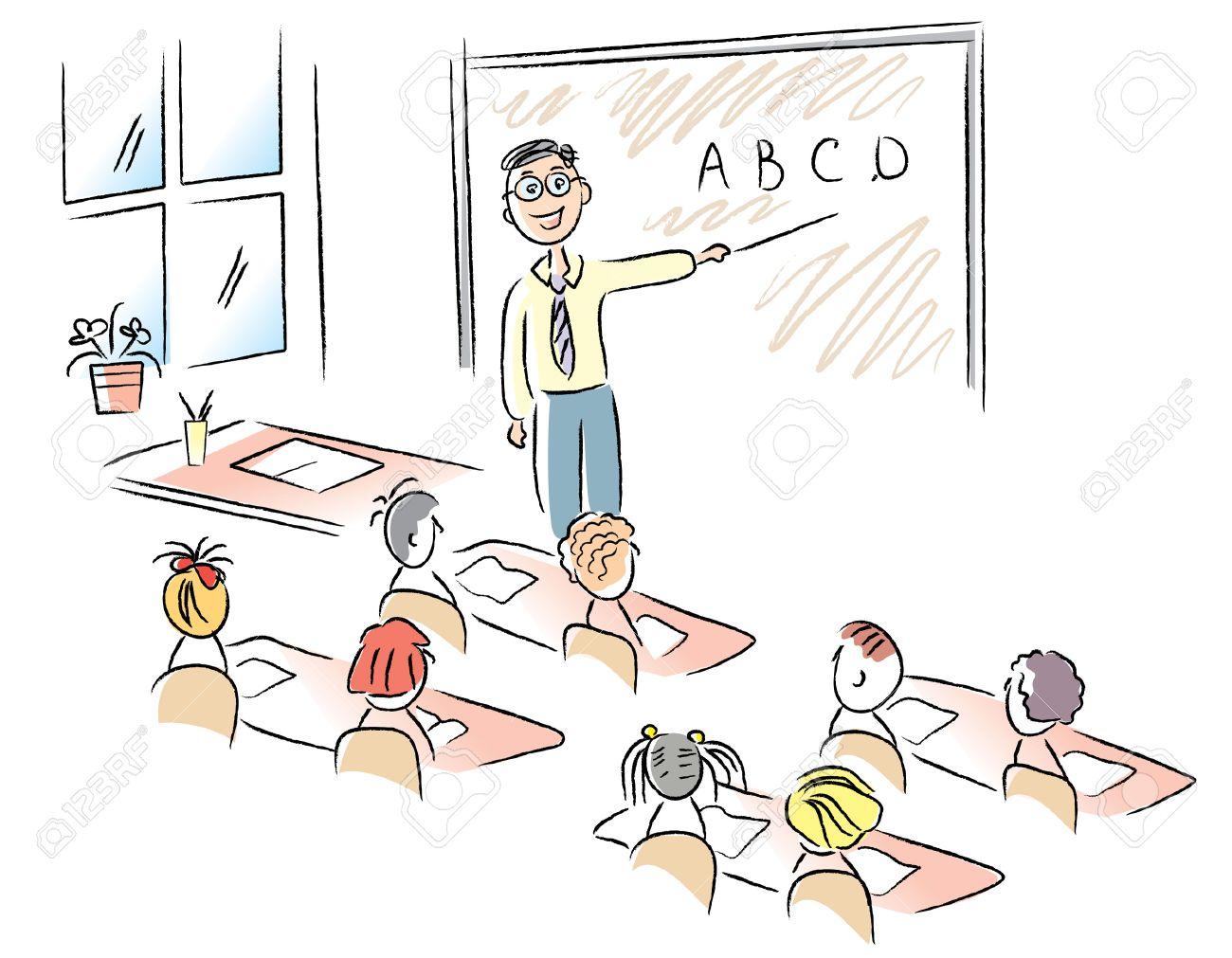 Teacher in classroom .Vector cartoons Stock Vector - 6763479