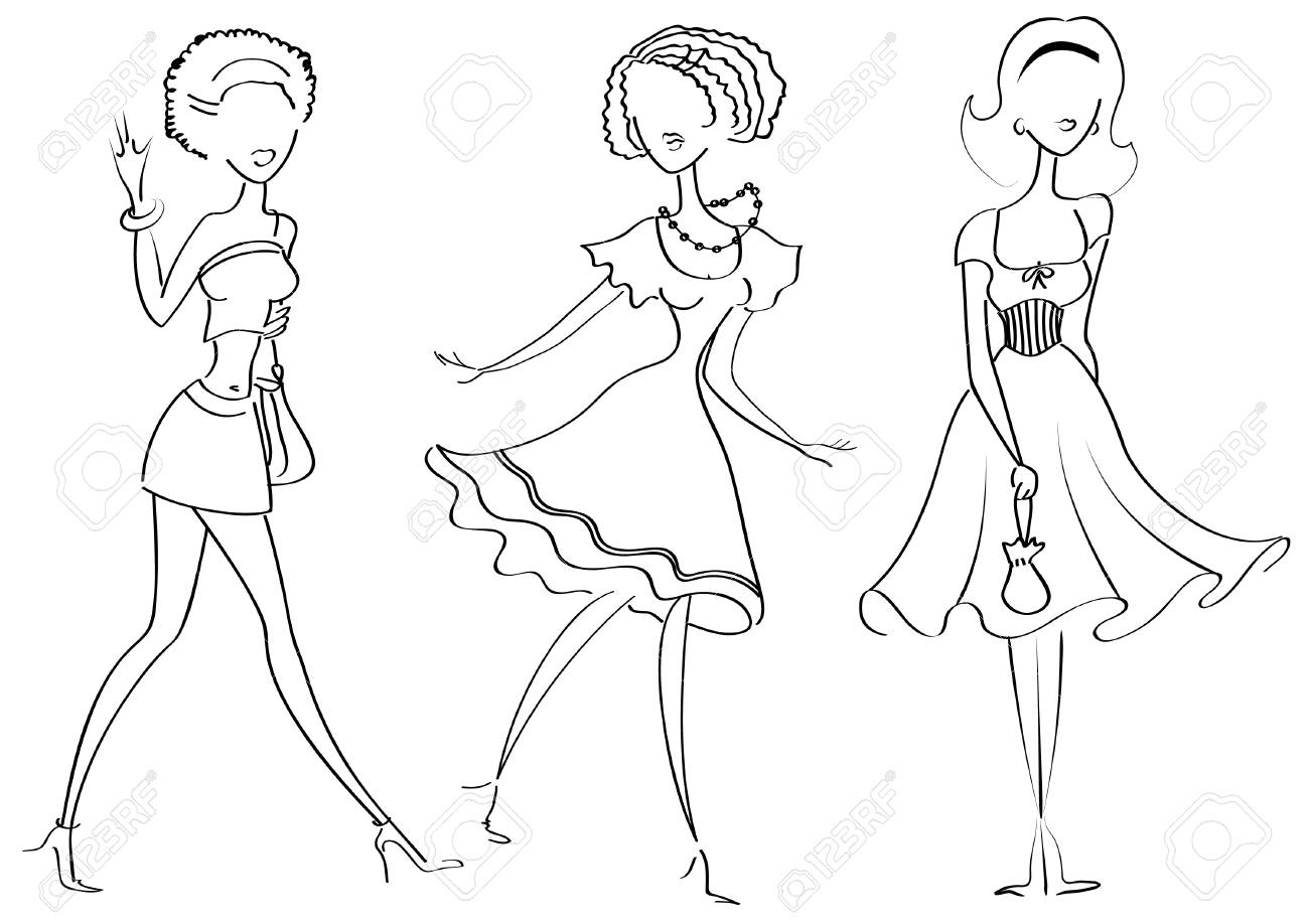 Fashion women in clothes on white Stock Vector - 6979653
