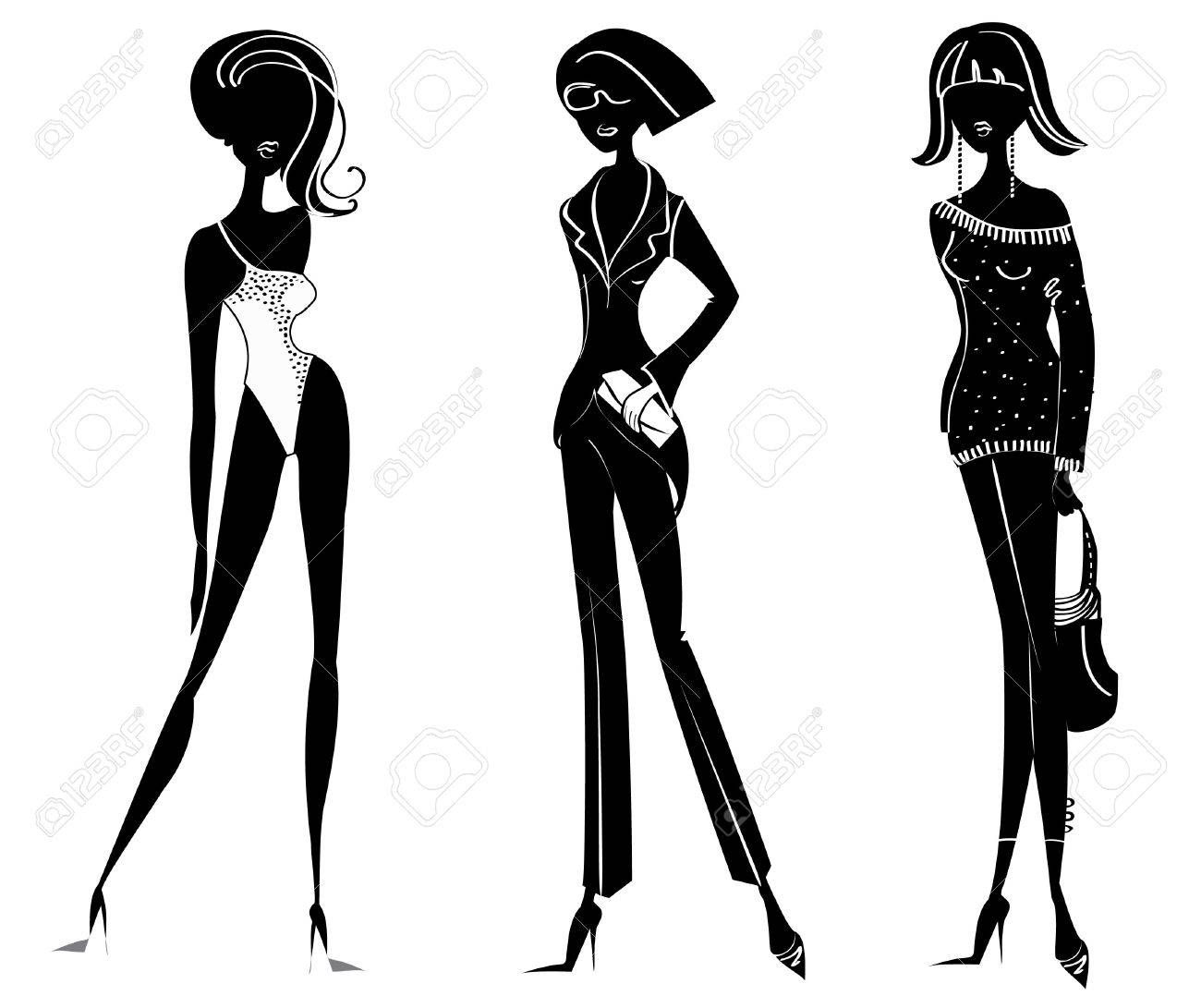 silhouettes of women in fashion clothes on white Stock Vector - 7068793