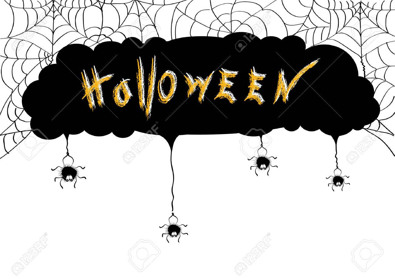 halloween backgroundvector spiders stock vector 7812834 - Halloween Spiders