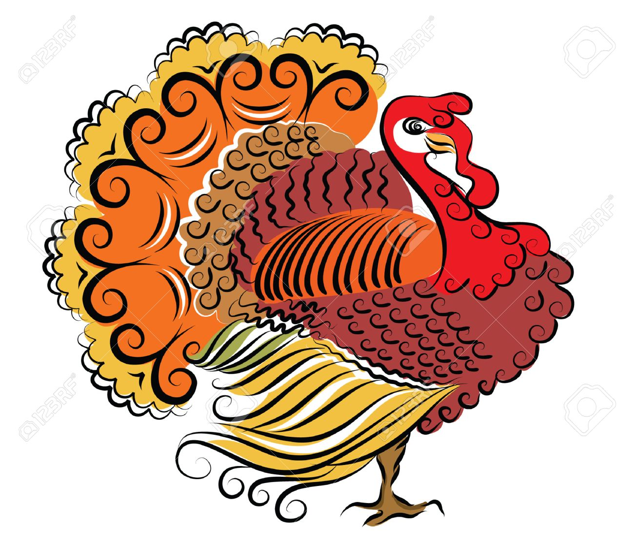 Color Turkey Thanksgiving Day Royalty Free Cliparts, Vectors, And ...