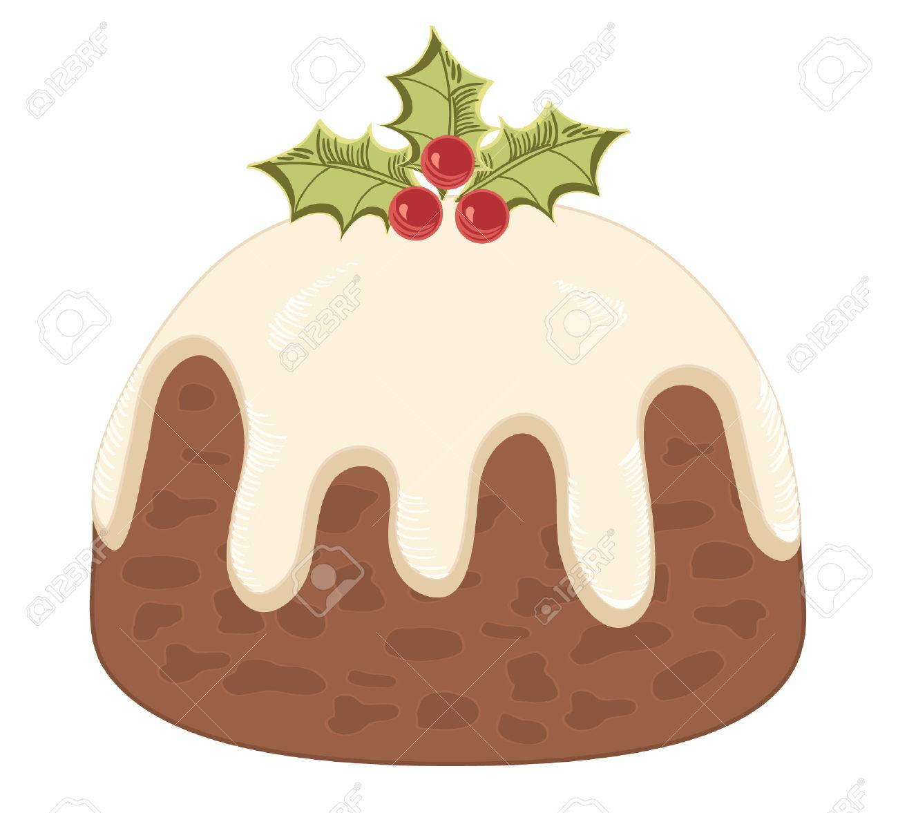 Christmas pudding on white. Stock Vector - 8267590